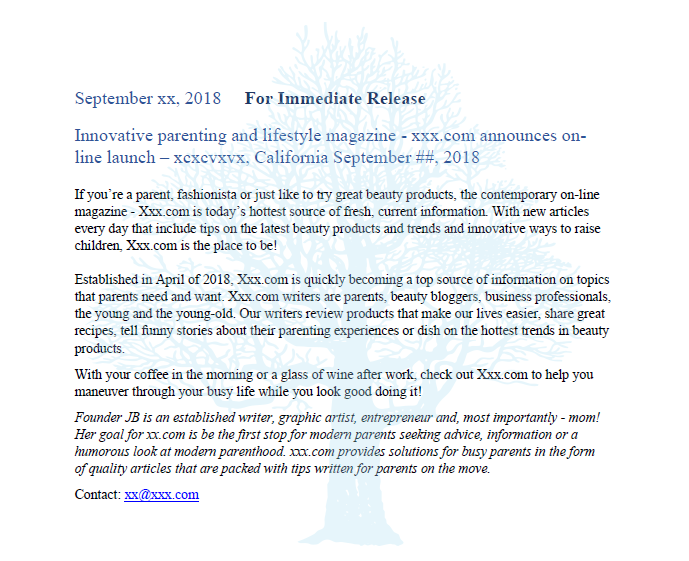 Writing 4 Business press release sample